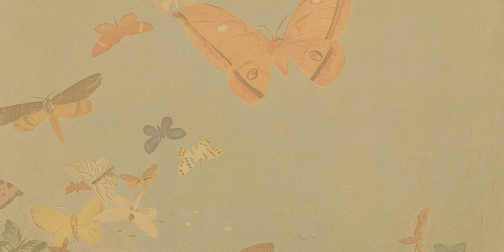 Painted butterflies flying,blue background & orange overlay