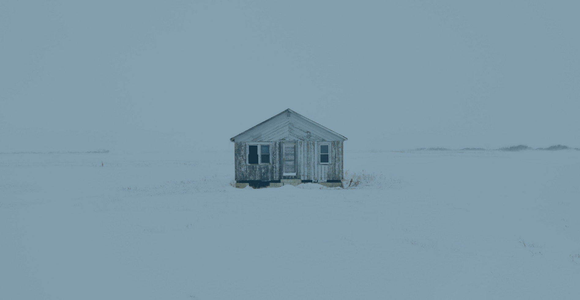 lone cabin winter blue overlay
