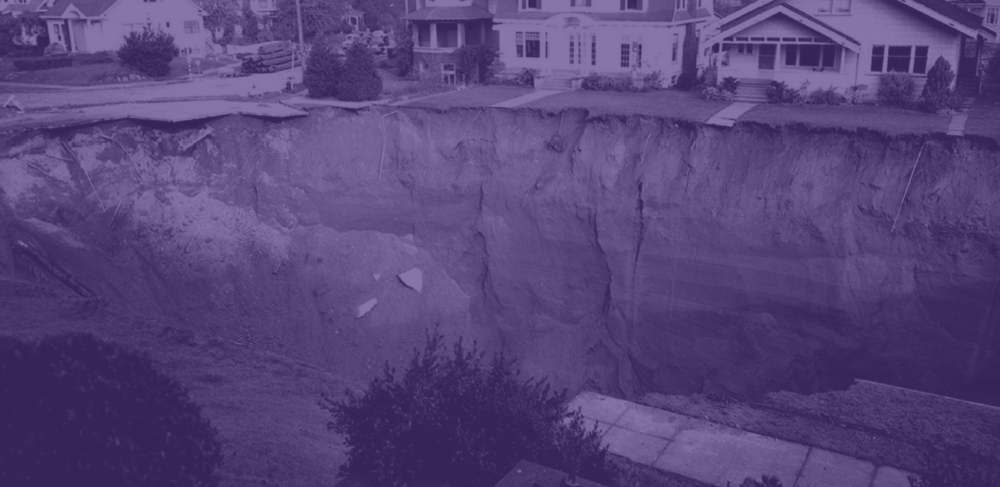 sinkhole in seattle suburb, purple overlay