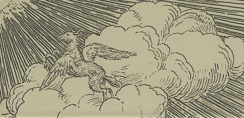 a snippet of a bookplate, featuring pegasus in the clouds