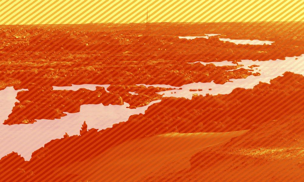 A flooded landscape in orange